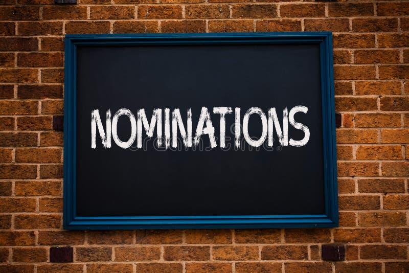 Begriffshandschrift, die Nominierungen zeigt Geschäftsfoto Präsentationsvorschläge von jemand oder von etwas für eine Jobposition stockfotos