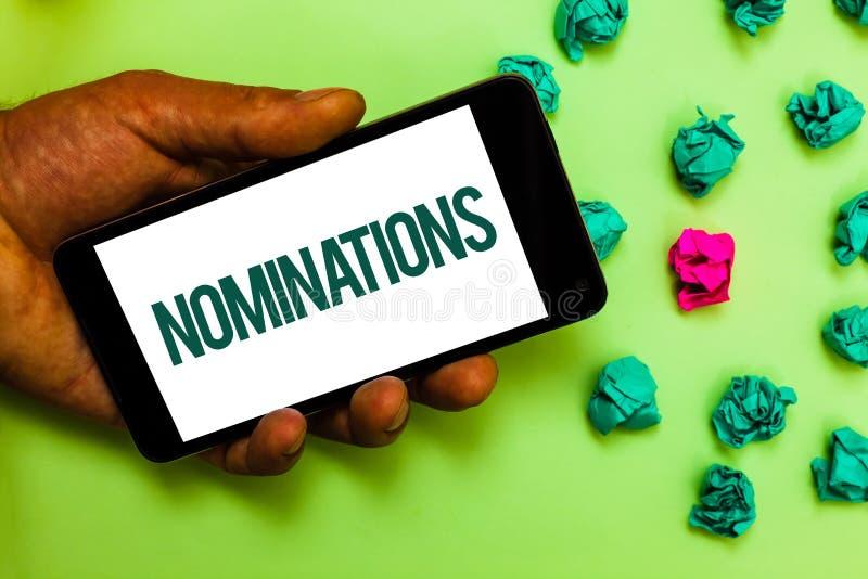 Begriffshandschrift, die Nominierungen zeigt Geschäftsfoto-Text Vorschläge von jemand oder von etwas für eine Jobposition oder ei lizenzfreie stockfotos