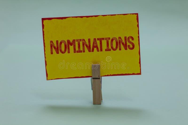 Begriffshandschrift, die Nominierungen zeigt Geschäftsfoto-Text Vorschläge von jemand oder von etwas für eine Jobposition oder ei stockfotos