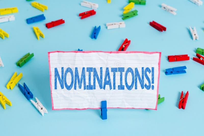 Begriffshandschrift, die Nominierungen zeigt Gesch?ftsfoto-Textaktion der Ernennung oder des Zustandes, die f?r Preis ernannt wer stockbilder