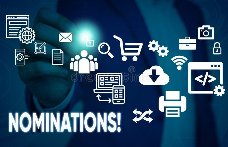 Begriffshandschrift, die Nominierungen zeigt Gesch?ftsfoto-Textaktion der Ernennung oder des Zustandes, die f?r Preis ernannt wer stockfoto