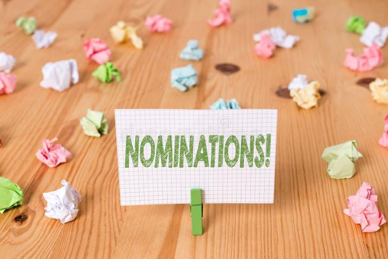 Begriffshandschrift, die Nominierungen zeigt Pr?sentationsaktion des Gesch?ftsfotos der Ernennung oder des Zustandes, die f?r ern stockfotografie