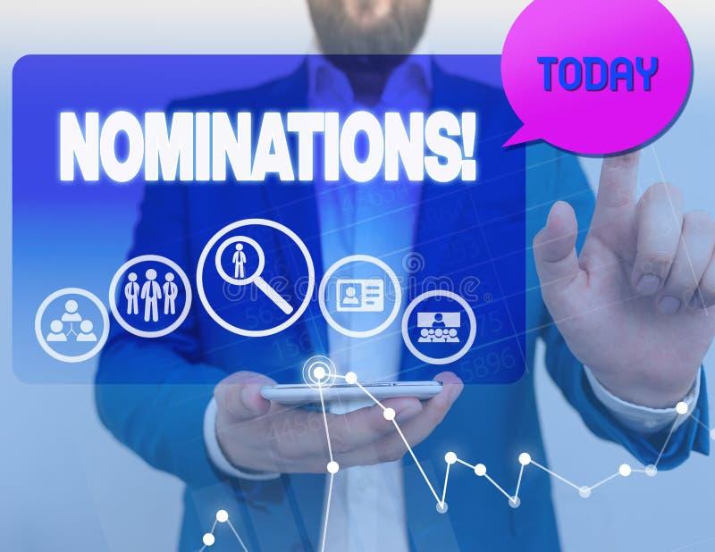 Begriffshandschrift, die Nominierungen zeigt Pr?sentationsaktion des Gesch?ftsfotos der Ernennung oder des Zustandes, die f?r ern stockfoto