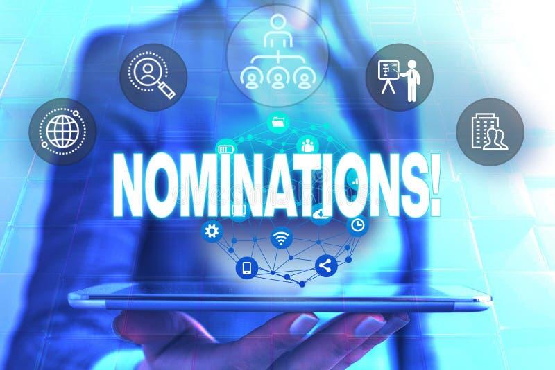 Begriffshandschrift, die Nominierungen zeigt Pr?sentationsaktion des Gesch?ftsfotos der Ernennung oder des Zustandes, die f?r ern lizenzfreies stockfoto