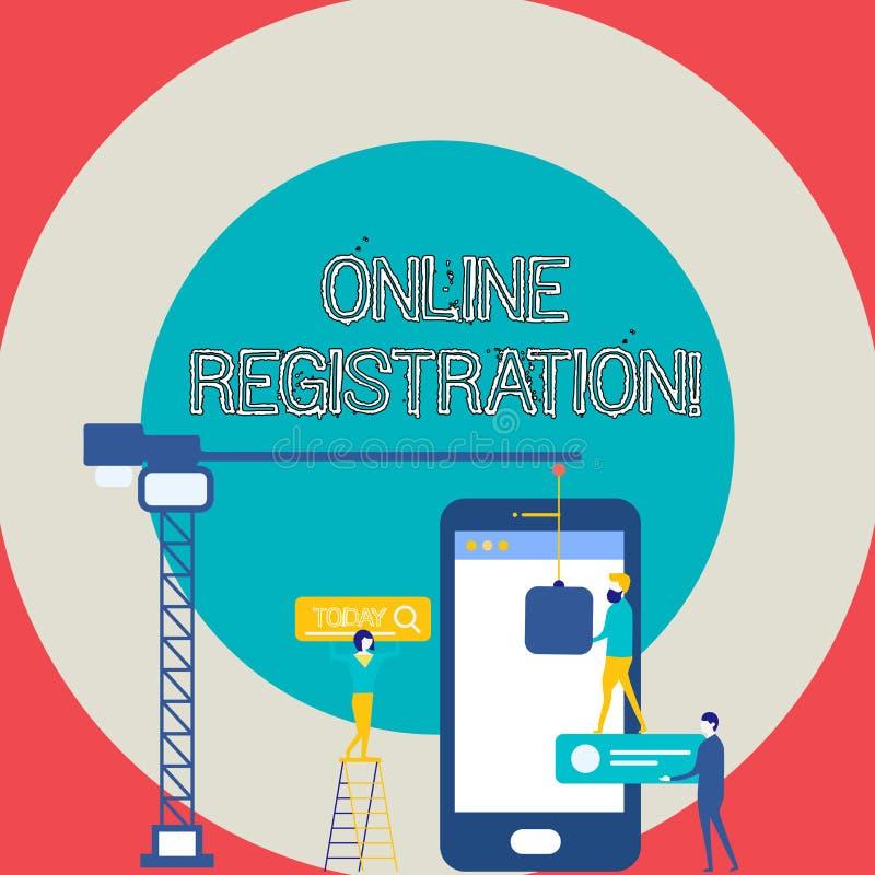 Begriffshandschrift, die Online-Registrierung zeigt Geschäftsfototext, der über das Internet als Benutzer von a registriert lizenzfreie abbildung