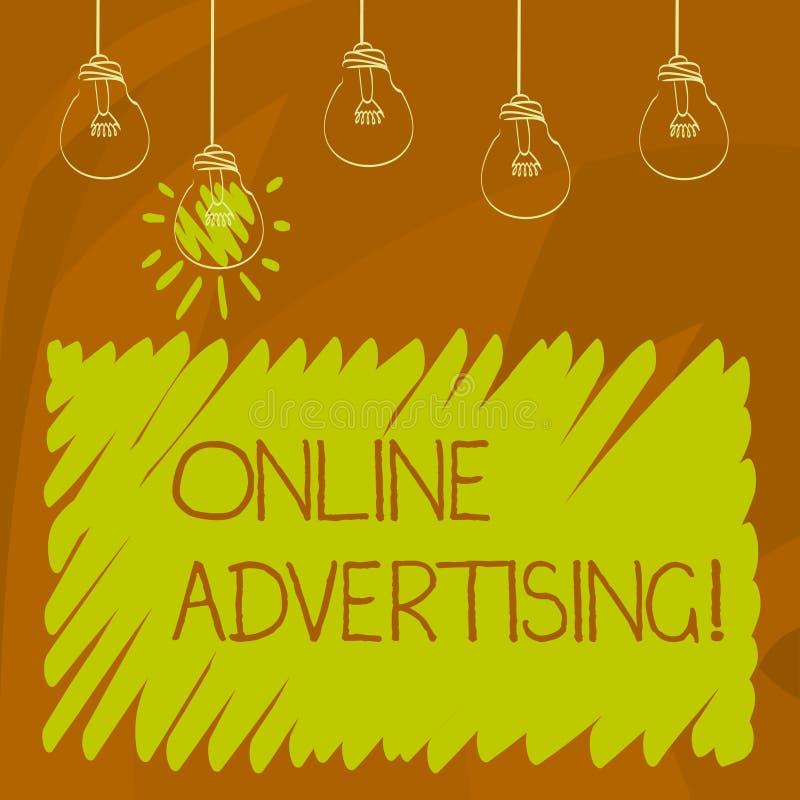 Begriffshandschrift, die Online-Werbung zeigt WEBSITEkampagnen Anzeigen des Geschäftsfotos PräsentationsEDV-Marketing SEO stockbilder