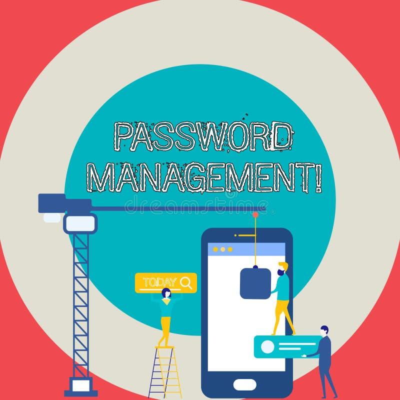 Begriffshandschrift, die Passwortverwaltung zeigt Geschäftsfototext-Software benutzt, um Benutzer besserem analysisage zu helfen lizenzfreie abbildung