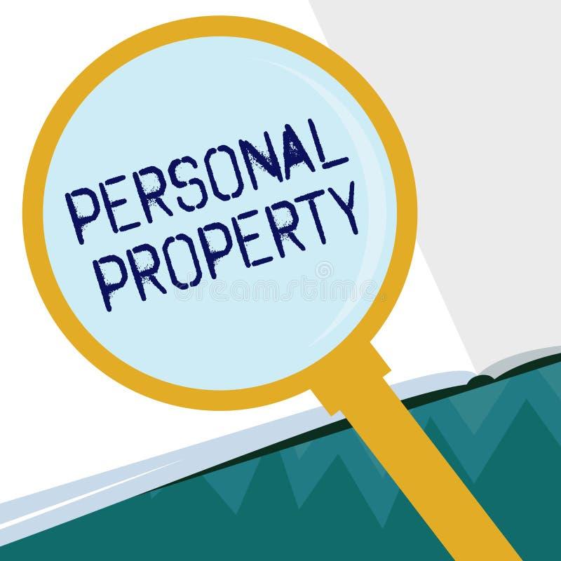 Begriffshandschrift, die persönliches Eigentum zeigt Geschäftsfoto Präsentationssachen, denen Sie sie mit Ihnen nehmen beweglich  lizenzfreie abbildung