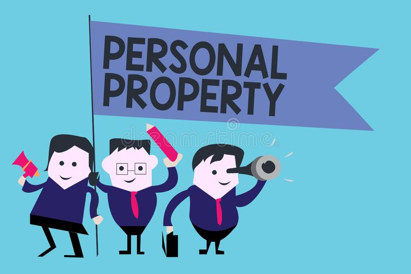 Begriffshandschrift, die persönliches Eigentum zeigt Geschäftsfoto-Text Sachen, denen Sie sie mit Ihnen nehmen besitzen und könne lizenzfreie abbildung