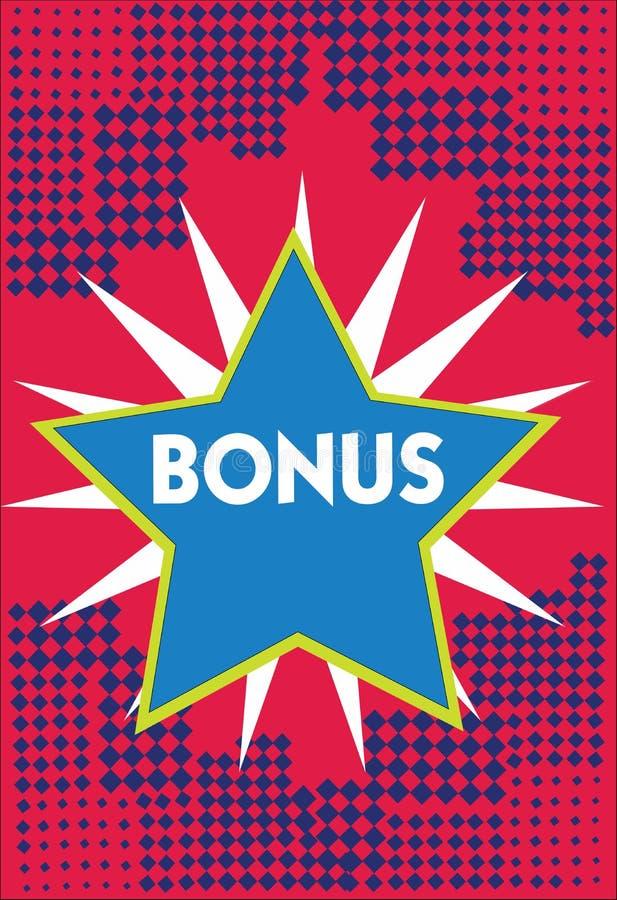 Begriffshandschrift, die Prämie zeigt Geschäftsfoto Präsentationsbelohnung für Sonderdividende und Geld der guten Leistung lizenzfreie abbildung