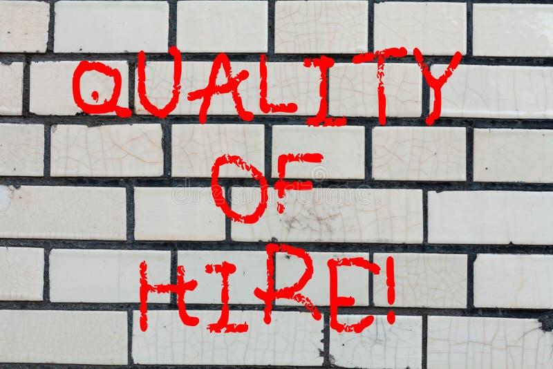 Begriffshandschrift, die Qualität der Miete zeigt Gute Fachleute des Geschäftsfoto-Textes eingestellt für einen Job erfolgreich lizenzfreie stockbilder