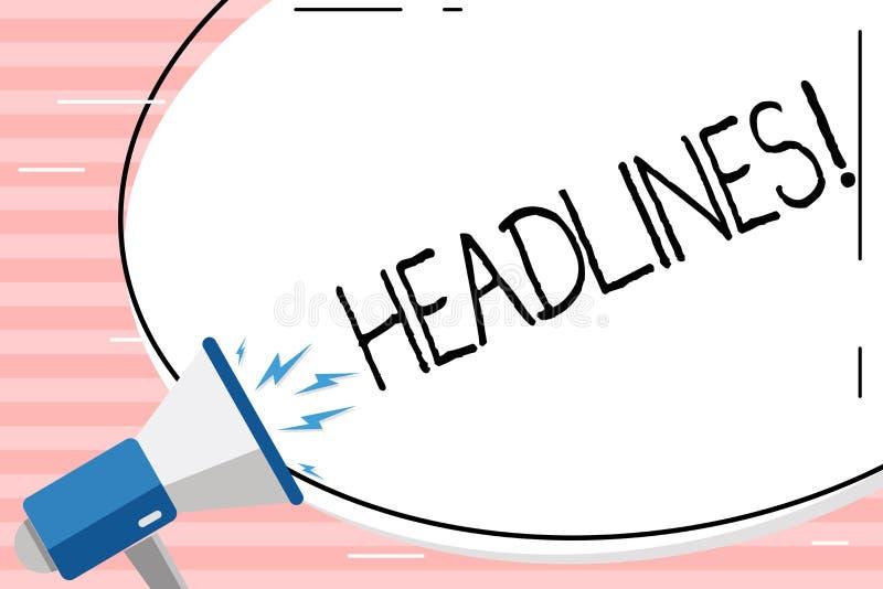 Begriffshandschrift, die Schlagzeilen zeigt Geschäftsfoto Präsentationsüberschrift an der Spitze eines Artikels in Zeitung freiem stock abbildung