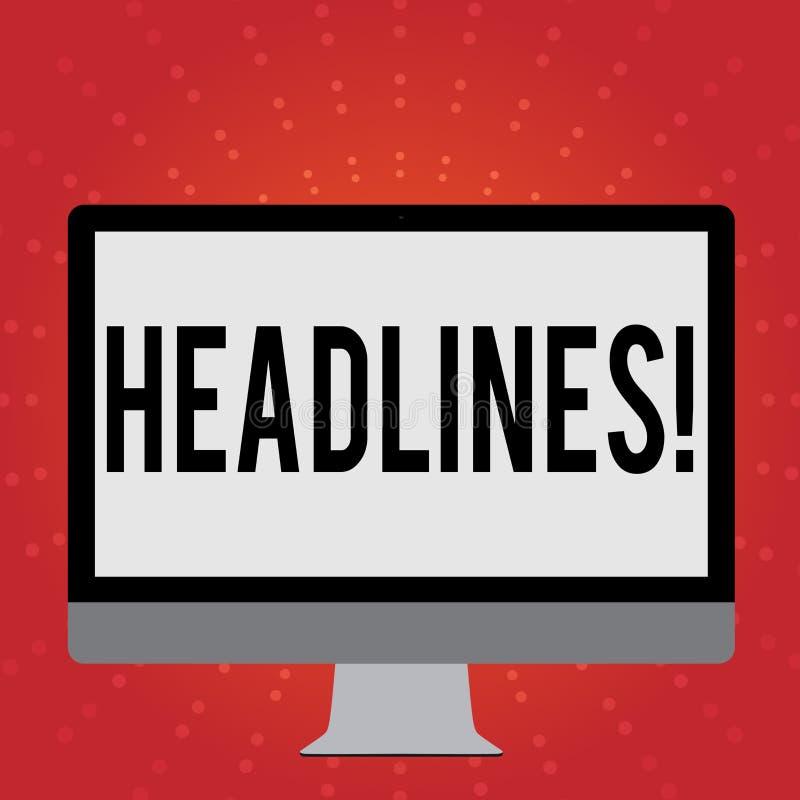 Begriffshandschrift, die Schlagzeilen zeigt Geschäftsfoto Präsentationsüberschrift an der Spitze eines Artikels in Zeitung Weiß stock abbildung