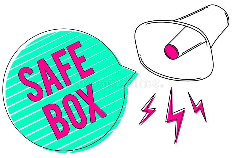 Begriffshandschrift, die sicheren Kasten zeigt Geschäftsfoto, das kleine Struktur A zur Schau stellt, in der Sie wichtiges oder w vektor abbildung