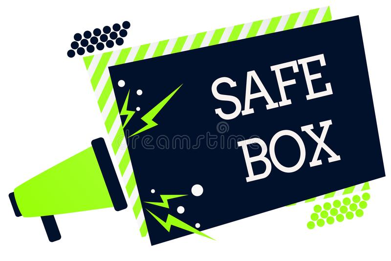 Begriffshandschrift, die sicheren Kasten zeigt Geschäftsfoto, das kleine Struktur A zur Schau stellt, in der Sie wichtiges oder w lizenzfreie abbildung