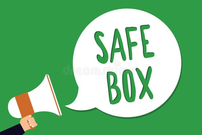 Begriffshandschrift, die sicheren Kasten zeigt Geschäftsfoto, das kleine Struktur A zur Schau stellt, in der Sie wichtiges oder w stock abbildung