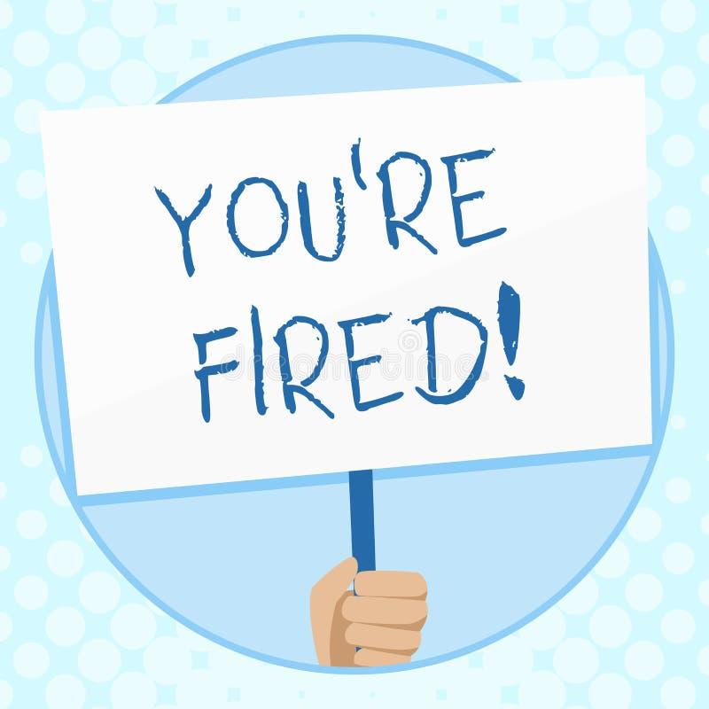 Begriffshandschrift, die Sie bezüglich abgefeuert zeigt Der Geschäftsfototext, der durch Chef benutzt wird, zeigen Angestellten a lizenzfreie abbildung