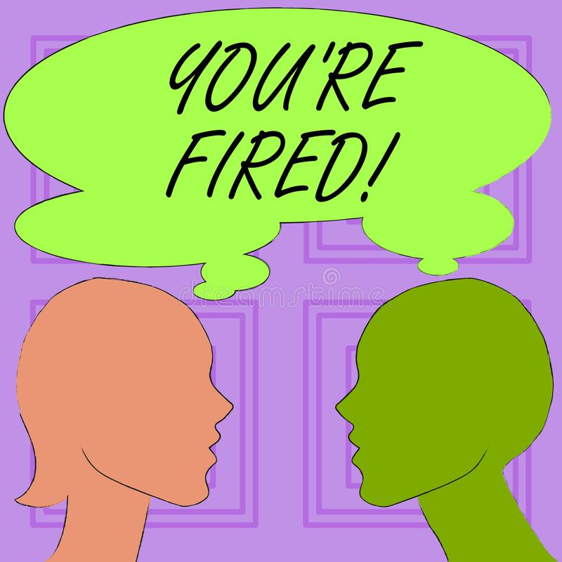 Begriffshandschrift, die Sie bezüglich abgefeuert zeigt Der Geschäftsfototext, der durch Chef benutzt wird, zeigen Angestellten a vektor abbildung