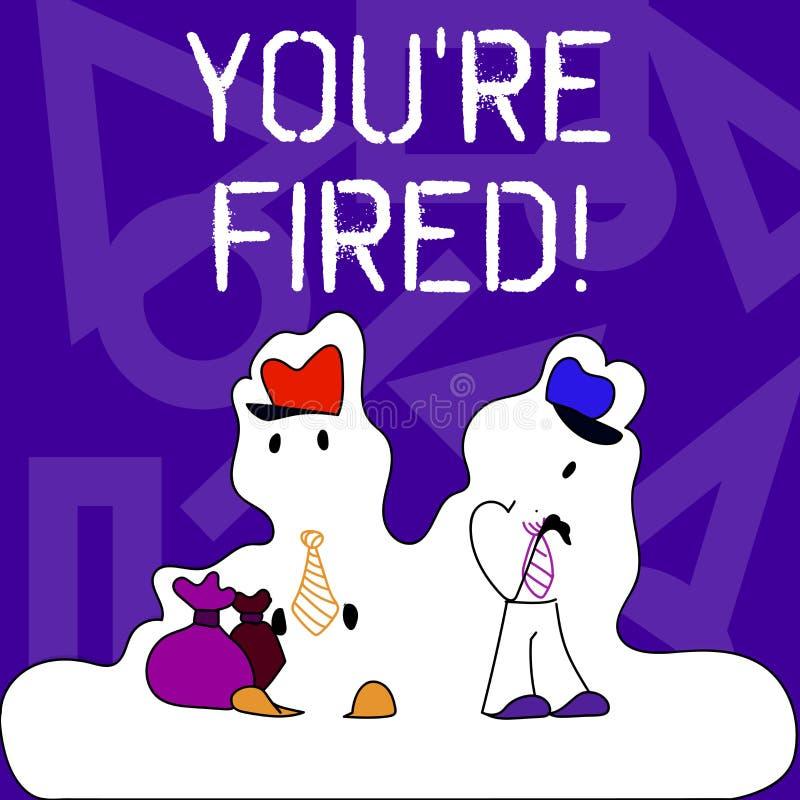 Begriffshandschrift, die Sie bezüglich abgefeuert zeigt Der Geschäftsfototext, der durch Chef benutzt wird, zeigen Angestellten a stock abbildung