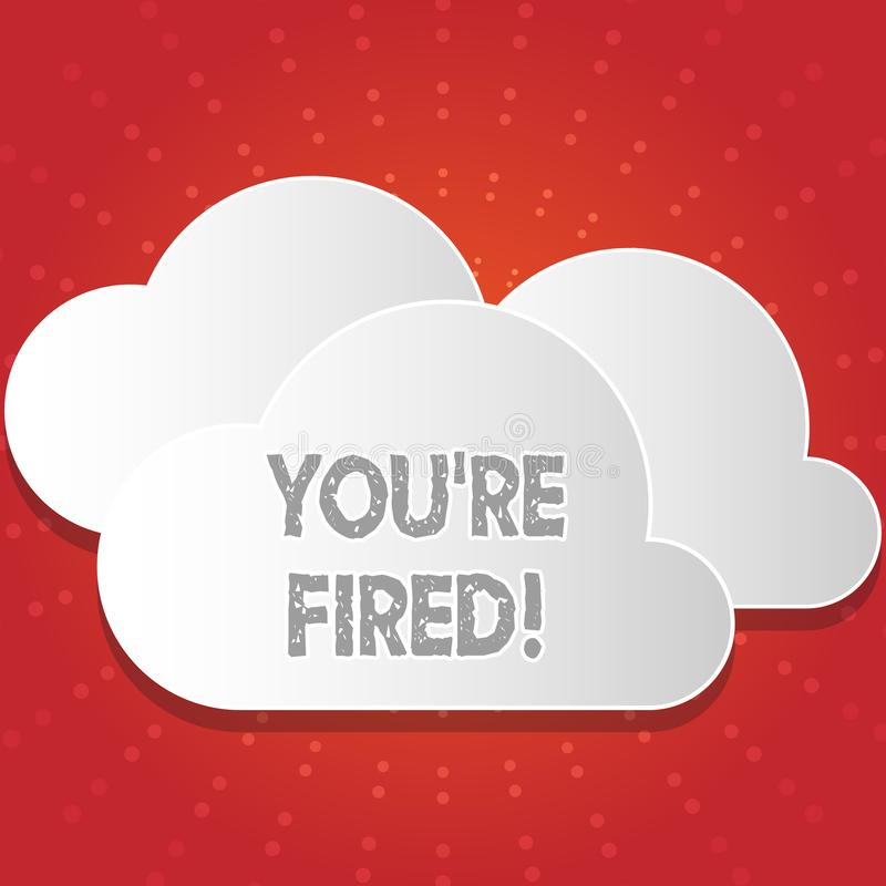 Begriffshandschrift, die Sie bezüglich abgefeuert zeigt Die Geschäftsfotopräsentation, die durch Chef verwendet wird, zeigen Ange stock abbildung
