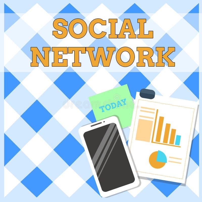 Begriffshandschrift, die Soziales Netz zeigt Geschäftsfoto-Text Interaktionen, die Informationen teilen stock abbildung