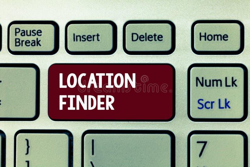 Begriffshandschrift, die Standort-Sucher zeigt Geschäftsfoto, das a-Service gekennzeichnet, um die Adresse eines vorgewählten pl  stockfoto