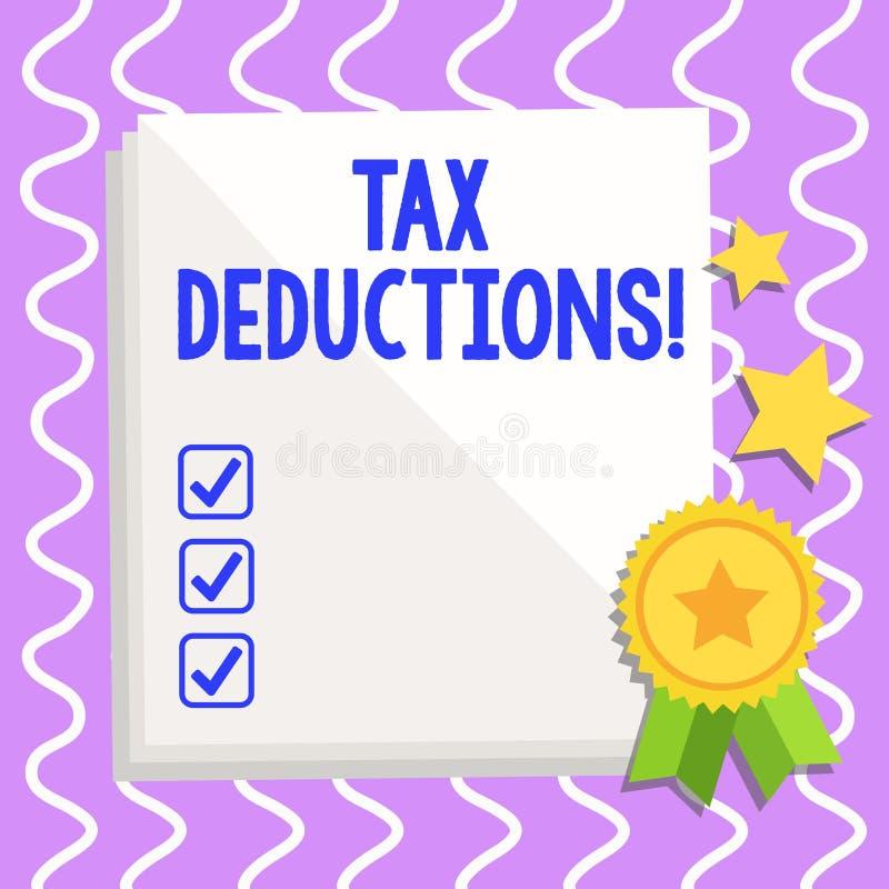 Begriffshandschrift, die Steuerabzüge zeigt Geschäftsfototext-Reduzierungseinkommen, dem ist besteuert zu werden von vektor abbildung