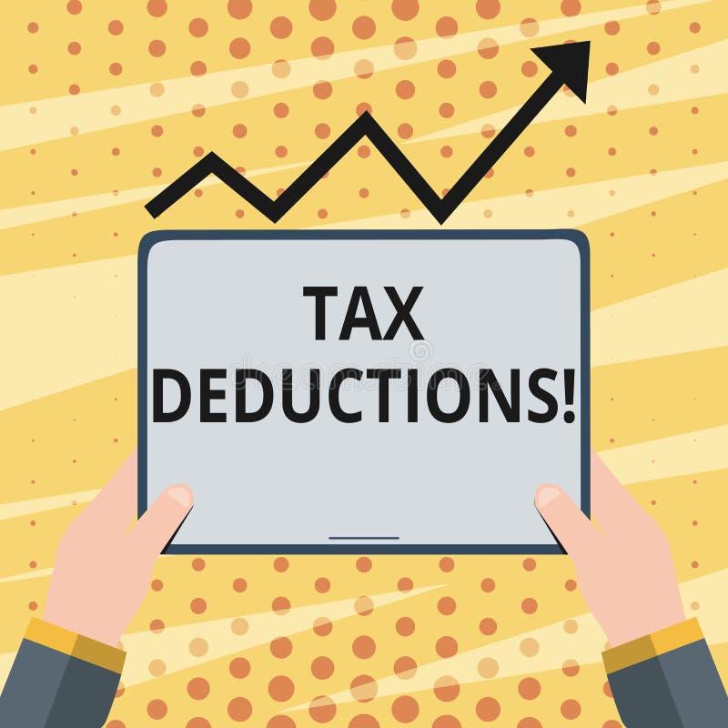 Begriffshandschrift, die Steuerabzüge zeigt Präsentationsreduzierungseinkommen des Geschäftsfotos, dem ist besteuert zu werden vo lizenzfreie abbildung