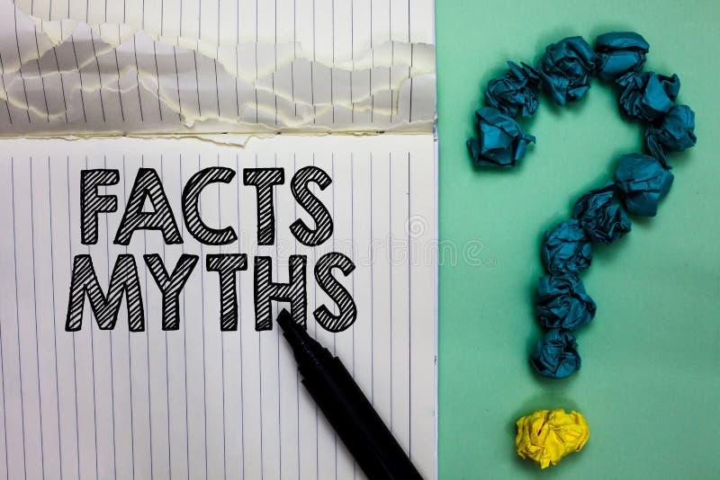 Begriffshandschrift, die Tatsachen-Mythen zeigt Geschäftsfoto-Textarbeit basiert auf Fantasie eher als auf aus dem wirklichem Leb stockbilder
