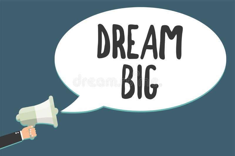 Begriffshandschrift, die Traumgroßes zeigt Geschäftsfoto, das zur Schau stellt, um an etwas hohen Wert zu denken, dass Sie Meg. O lizenzfreie abbildung