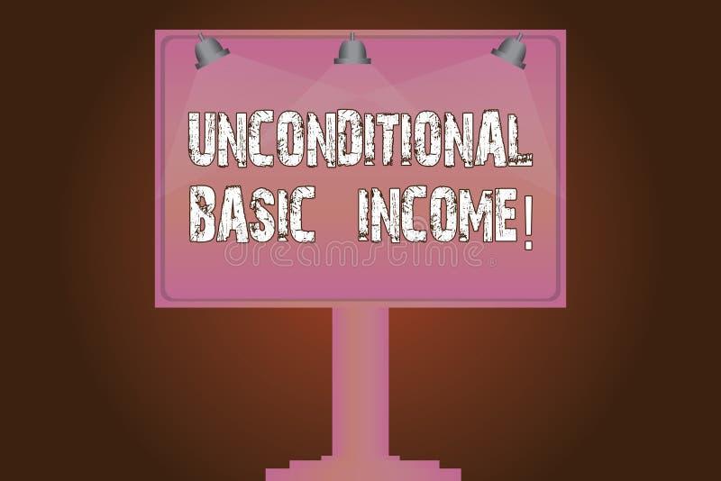 Begriffshandschrift, die unbedingtes Grundeinkommen zeigt Geschäftsfototext zahlte Einkommen ohne eine Anforderung zu lizenzfreie abbildung