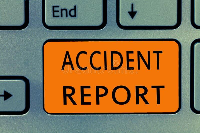 Begriffshandschrift, die Unfallbericht zeigt Form des Geschäftsfoto-Textes A, die ergänzte Rekorddetails eines ungewöhnlichen Ere stockfotografie