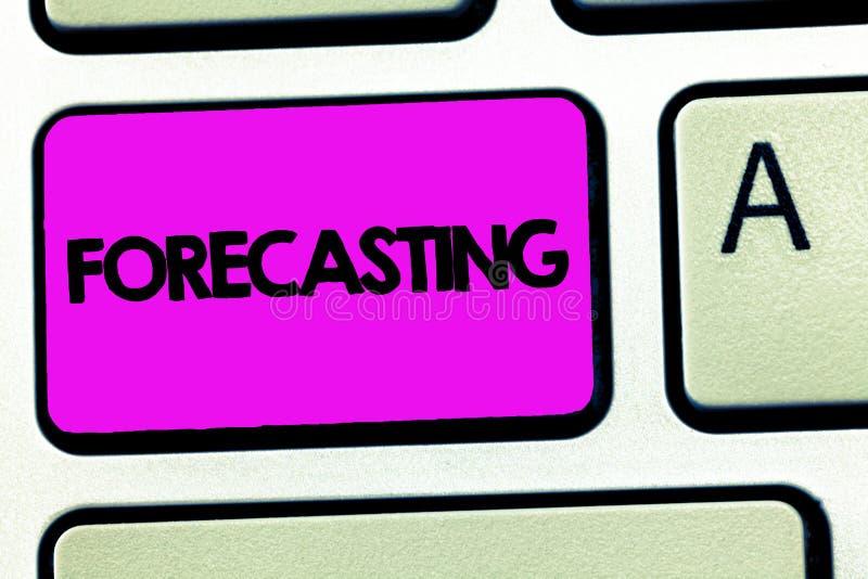 Begriffshandschrift, die Voraussage zeigt Die Geschäftsfotopräsentation sagen Schätzung ein zukünftiges Ereignis oder eine Tenden stockfoto