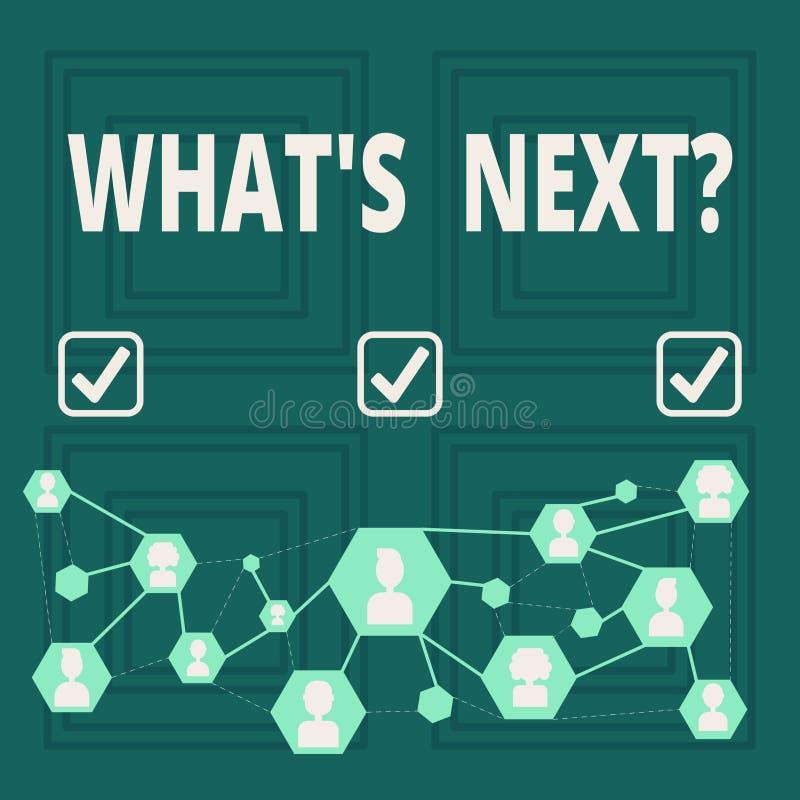 Begriffshandschrift, die welches S Nextquestion zeigt Geschäftsfoto, das nach Schritte Anleitung zur Schau stellt, um fortzufahre lizenzfreie abbildung