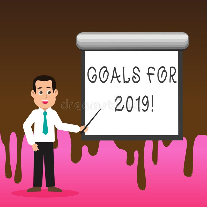 Begriffshandschrift, die Ziele für 2019 zeigt Geschäftsfoto-Textgegenstand von demonstratings Ehrgeiz oder von Bemühungsziel oder lizenzfreie abbildung