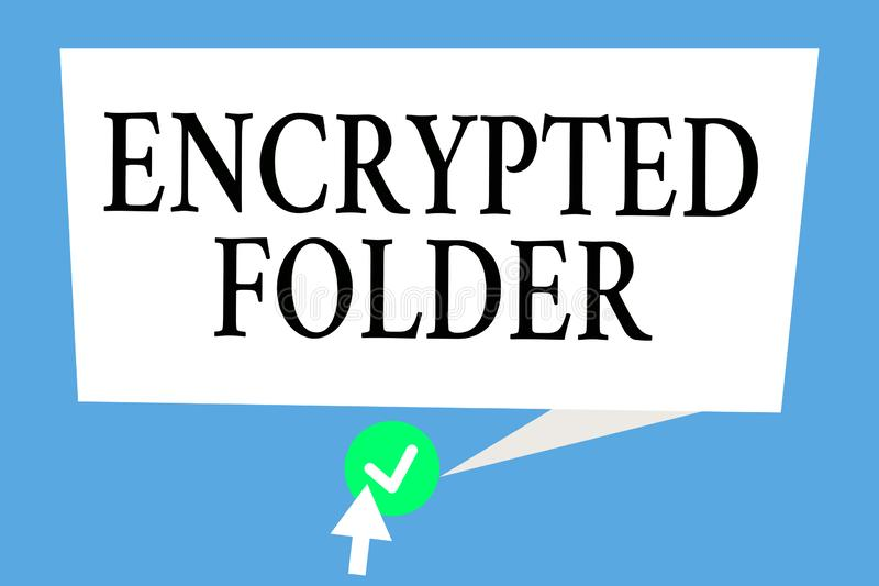 Begriffshandschrift Vertretung verschlüsselter Ordner Geschäftsfototext schützen vertrauliche Daten vor Angreifern mit Zugang stock abbildung