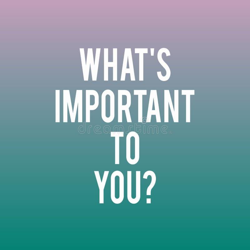 Begriffshandschriftdarstellen, welches S zu Youquestion wichtig ist Die Geschäftsfotopräsentation sagen uns Ihren Prioritäten stock abbildung