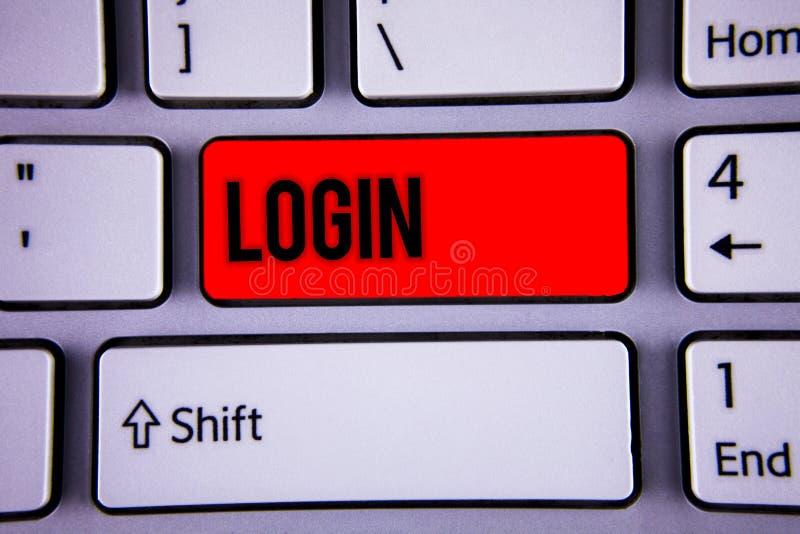 Begriffshandschriftvertretung Anmeldung Geschäftsfoto-Text Tat des Teilnehmens an einer Computerdatenbank oder -system, die Sitzu stockbild