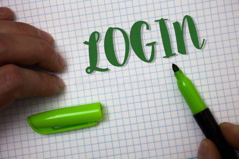 Begriffshandschriftvertretung Anmeldung Geschäftsfoto-Text Tat des Teilnehmens an einer Computerdatenbank oder -system, die Sitzu lizenzfreie stockfotos