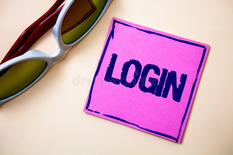 Begriffshandschriftvertretung Anmeldung Geschäftsfoto-Text Tat des Teilnehmens an einer Computerdatenbank oder -system, die Sitzu stockfoto