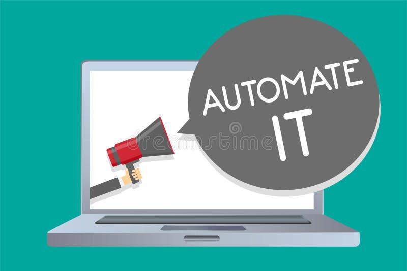 Begriffshandschriftvertretung automatisieren es Präsentationsbekehrtprozeß oder -anlage des Geschäftsfotos, zum bearbeitetes auto stock abbildung