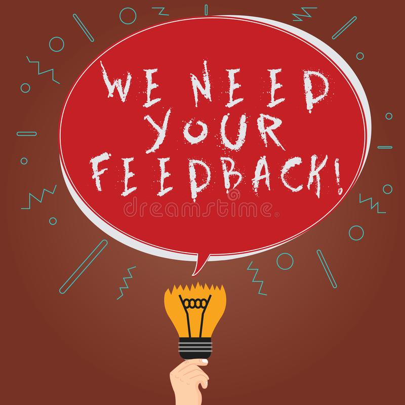 Begriffshandschriftvertretung benötigen wir Ihr Feedback Die Geschäftsfotopräsentation geben uns Ihre Berichtgedanken Kommentare vektor abbildung