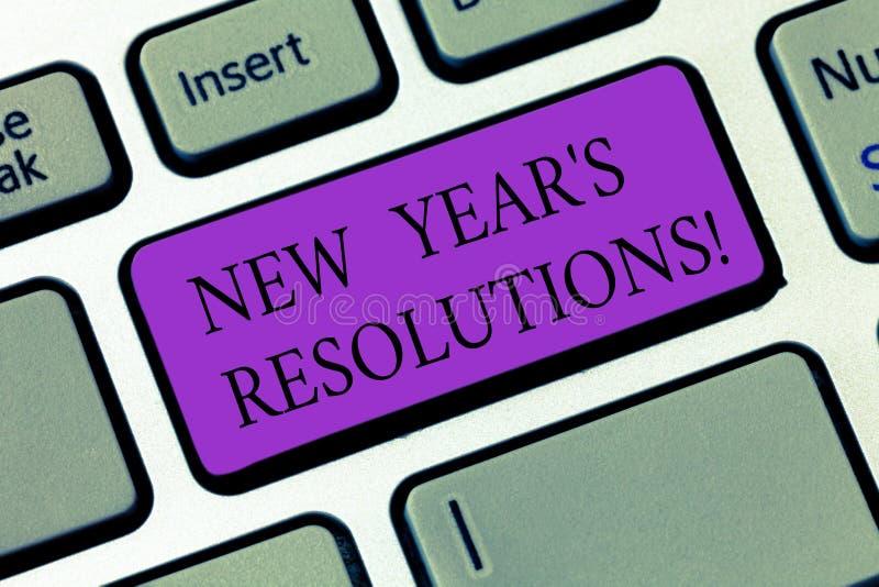 Begriffshandschriftvertretung Beschlüsse neuen Jahr-S Geschäftsfoto visiert Präsentationsziel-Ziele Entscheidungen für an stockbilder