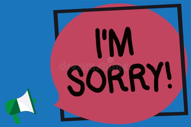 Begriffshandschriftvertretung bin ich traurig Das Geschäftsfoto, das zur Schau stellt, um Verzeihen zu jemand zu bitten verletzte stock abbildung