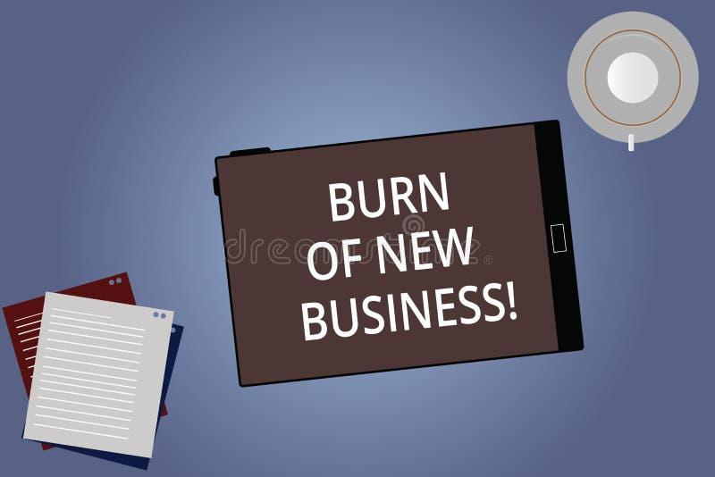Begriffshandschriftvertretung Brand des neuen Geschäfts Geschäftsfoto Präsentationsmenge Monatsbargeld die Firma stock abbildung