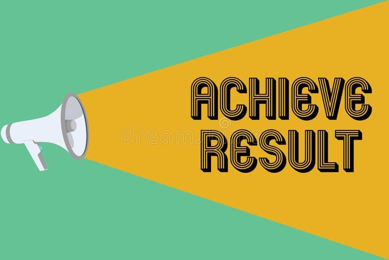 Begriffshandschriftvertretung erzielen Ergebnis Geschäftsfoto Präsentationsdurchführung erreichen holen zu einem erfolgeichen Abs stock abbildung