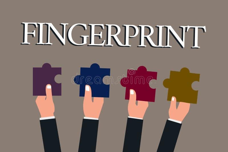 Begriffshandschriftvertretung Fingerabdruck Geschäftsfototexteindruck oder -kennzeichen machten auf einer Oberfläche durch ein De stock abbildung