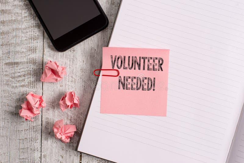 Begriffshandschriftvertretung Freiwilliger brauchte Gesch?ftsfoto, das das Demonstrieren zur Arbeit um bitten zur Schau stellt stockbilder