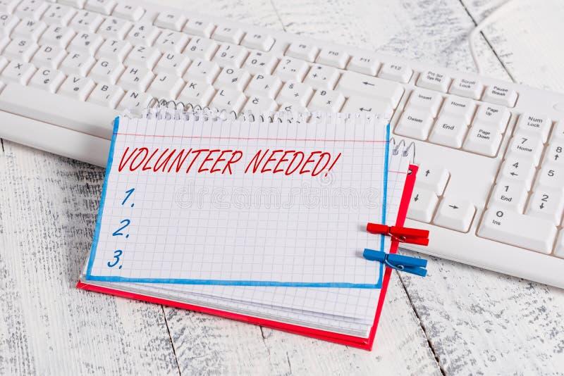 Begriffshandschriftvertretung Freiwilliger brauchte Gesch?ftsfototext-Bedarfsarbeit f?r Organisation, ohne gezahlt zu werden stockbild