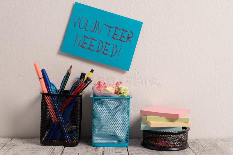 Begriffshandschriftvertretung Freiwilliger brauchte Gesch?ftsfototext, der das Demonstrieren zur Arbeit um Organisation bittet stockfoto